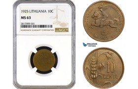 AB320, Lithuania, 10 Centu 1925, NGC MS63