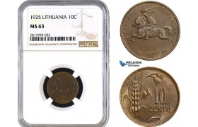 AB321, Lithuania, 10 Centu 1925, NGC MS63
