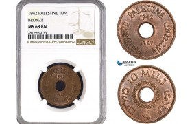 AB322, Palestine, 10 Mils 1942, London, Bronze, NGC MS63BN