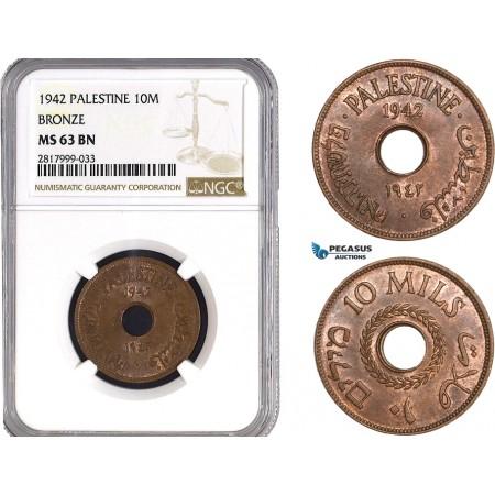 AB322, Palestine, 10 Mils 1942, London, Bronze, NGC MS63BN