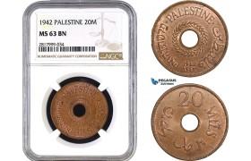 AB323, Palestine, 20 Mils 1942, London, Bronze, NGC MS63BN