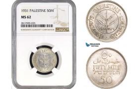 AB324, Palestine, 50 Mils 1931, London, Silver, NGC MS62, Very Rare!