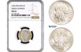 AB325, Poland, 2 Zlote 1934 (Queen Jadwiga) Warsaw, Silver, NGC MS62