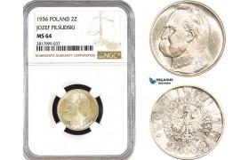 AB326, Poland, 2 Zlote 1936 (Józef Piłsudski) Silver, NGC MS64, Pop 6/0, Rare!