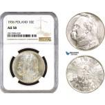 AB328, Poland, 10 Zlotych 1936 (Józef Piłsudski) Silver, NGC AU58