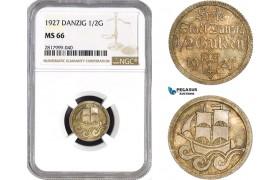 AB329, Poland, Danzig, 1/2 Gulden 1927, Silver, NGC MS66, Pop 1/0, Rare!