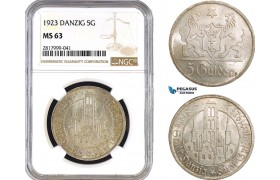 AB330, Poland, Danzig, 5 Gulden 1923, Silver, NGC MS63