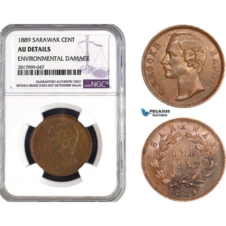 AB336, Sarawak, C. Brooke, 1 Cent 1889, NGC AU Details