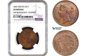 AB337, Straits Settlements, Victoria, 1 Cent 1845, NGC AU Details