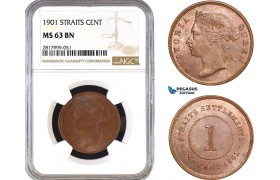 AB339, Straits Settlements, Victoria, 1 Cent 1901, NGC MS63BN