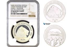 AB341, Switzerland, Zurich - Dielsdorf, 50 Francs 1992 HF, Silver, NGC PF68UC