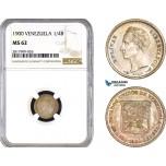 AB343, Venezuela, 1/4 Bolivar 1900, Paris, Silver, NGC MS62, Rainbow! Rare!