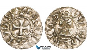 AB348, France, Carolingians, Conrad le Pacific (the Peaceful) (937-993) Denier, Lucdunus (Lyon), Silver (1.09g)