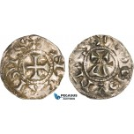 AB349, France, Carolingians, Conrad le Pacific (the Peaceful) (937-993) Denier, Lucdunus (Lyon), Silver (1.12g) Toned XF