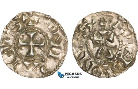AB350, France, Carolingians, Conrad le Pacific (the Peaceful) (937-993) Denier, Lucdunus (Lyon), Silver (1.13g) Toned AU