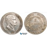 AB357, France, Napoleon (Premier Consul)  5 Francs AN 12/XI-Q, Perpignan, Silver, UNC- (Lightly cleaned) SPL-, Rare!