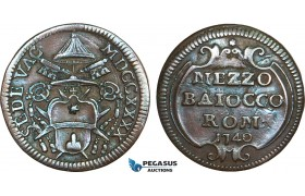 AB360, Italy, Papal, Sede Vacante, 1/2 Baiocco 1740, Rome, Brown AU