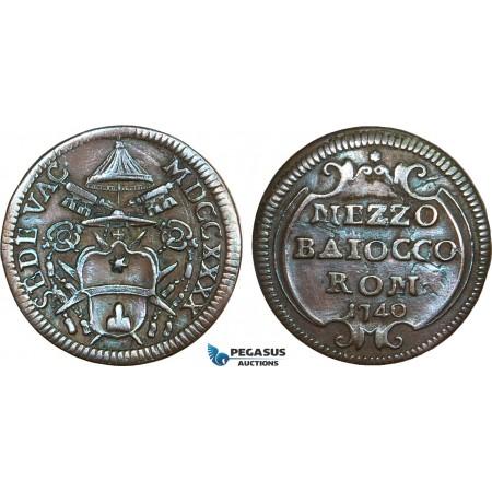 AB360, Italy, Papal, Sede Vacante, 1/2 Baiocco 1740, Rome, Brown AU