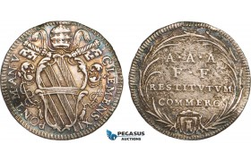 AB361, Italy, Papal, Clemens XII, Giulio An V (1734) Rome, Silver, Toned XF (Minor graffiti)