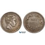 AB362-A, Portugal, Peter V, 200 Reis 1858, Lisbon, Silver, Toned AU