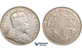 AB364, Straits Settlements, Edward VII, Dollar 1907-B, Bombay, Silver, UNC-