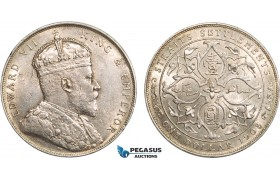 AB365, Straits Settlements, Edward VII, Dollar 1908-B, Bombay, Silver, Toned UNC-