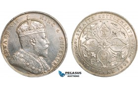 AB366, Straits Settlements, Edward VII, Dollar 1909-B, Bombay, Silver, Cleaned on Obv., AU-UNC