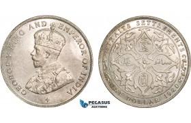 AB367, Straits Settlements, George V, Dollar 1920, Bombay, Silver, Lustrous UNC