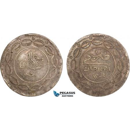 AB371, Sudan, Abdullah Ibn Mohammed, 20 Piastres AH1304/5, Khartoum, Billon, KM# 7.1, XF