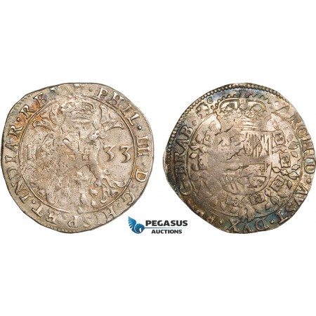 AB379, Belgium, Duchy of Brabant, 1/2 Patagon 1633, Antwerp, Silver (14.01g) Del. 303, Toned VF-XF