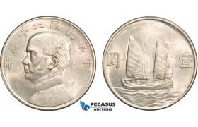 """AB381, China """"Junk"""" Dollar Year 23 (1934) Silver, L&M 110, Lustrous AU"""