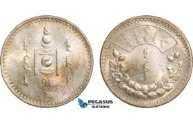 AB386, Mongolia, Tugrik AH15 (1925) Leningrad, Silver, Toned UNC (Min. Hairlines)
