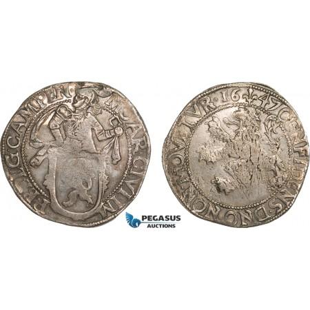 AB388, Netherlands, Kampen, Lion Daalder 1647, Silver (26.35g) Del. 862, Toned XF (Scratch)