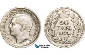 AB390, Serbia, Milan I. Obrenovic, 50 Para 1879, Vienna, Silver, VF-XF