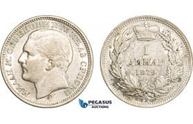 AB391, Serbia, Milan I. Obrenovic, 1 Dinar 1879, Vienna, Silver, Lustrous XF-AU (Min. Hairlines)