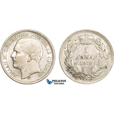 AB391, Serbia, Milan I. Obrenovic, 1 Dinar 1879, Vienna, Silver, Lustrous XF-AU (Min. Hairlines)
