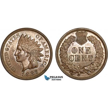 AB395, United States, Indian Cent 1887, Philadelphia, Brown aUNC