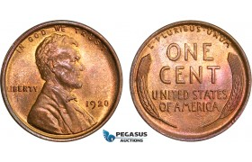 AB396, United States, Lincoln Cent 1920, Philadelphia, Red/Red Brown Ch UNC