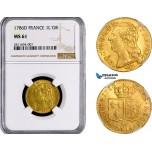 AB398, France, Louis XVI, Louis D'or 1786-D, Lyon, Gold, NGC MS61