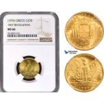 AB399, Greece, Constantine II, 20 Drachmai, No Date (1970) GOLD , NGC MS66