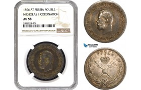AB400, Russia, Nicholas II, Coronation Rouble 1896, St. Petersburg, Silver, NGC AU58