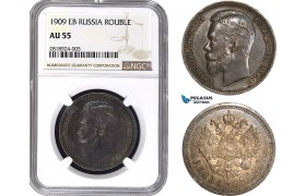 AB401, Russia, Nicholas II, Rouble 1909 (ЭБ) St. Petersburg, Silver, NGC AU55, Rare!