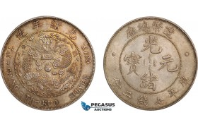 AB404, China, Empire, 7 Mace 2 Candareens (Dollar) No Date (1908) Tientsin, Silver, Toned UNC