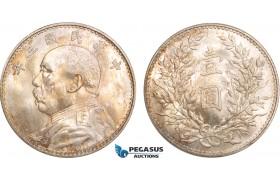 """AB405, China, """"Fat man"""" Dollar Yr. 3 (1914) Silver, Toned Ch Br. UNC"""