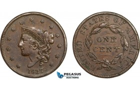 AB408-R, United States, Coronet Head Cent 1837, Philadelphia, VF-XF (Edge nicks?)