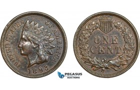 AB409-R, United States, Indian Head Cent 1893, Philadelphia, Brown AU