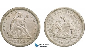 AB415-R, United States, Liberty Seated Quarter (25C) 1853 Arrows & Rays, Philadelphia, Silver, aXF