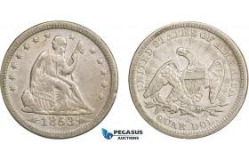AB415-R, United States, Liberty Seated Quarter (25C) 1853 Arrows & Rays, Philadelphia, Silver, aXF