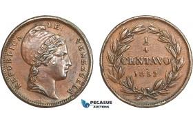 AB416, Venezuela, 1/4 Centavo 1852-H, Heaton, Brown AU (Few marks)