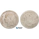 AB417, Venezuela, 50 Centavos 1873-A, Paris, Silver, Good with few scratches, Rare!